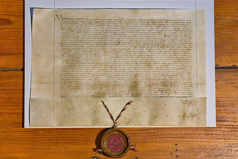 The University of Wittenberg's founding charter, signed by Emperor Maximilian in 1502