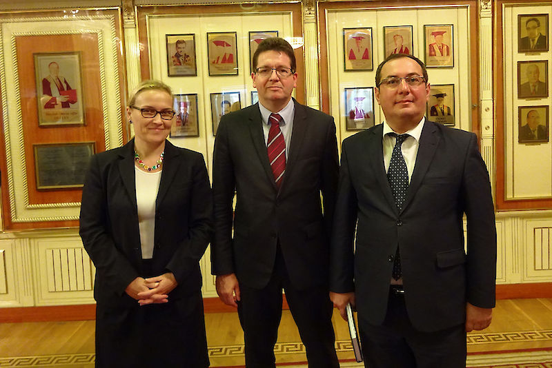 Manja Hussner, Christian Tietje and prorector Elchin A. Khalafov of the Baku State University