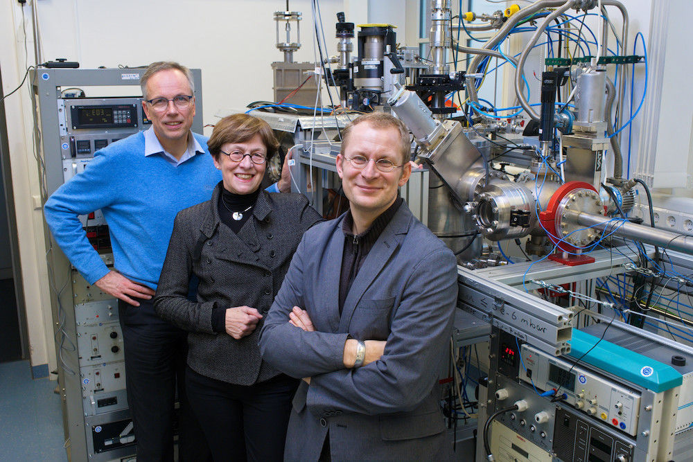 Thomas Thurn-Albrecht, Ingrid Mertig and Georg Woltersdorf (from left to right) head three collaborative research centres at the Institute of Physics.
