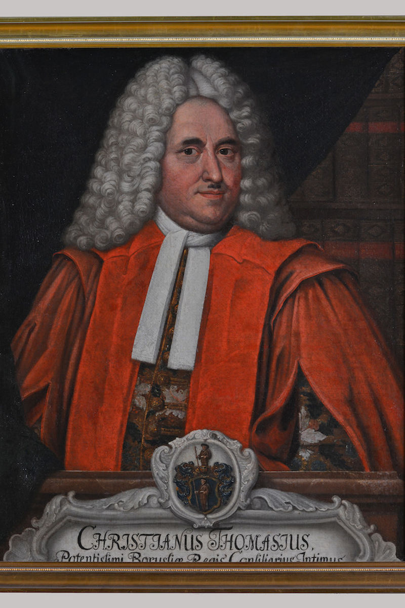 Christian Thomasius shown in a painting which is owned by the University.