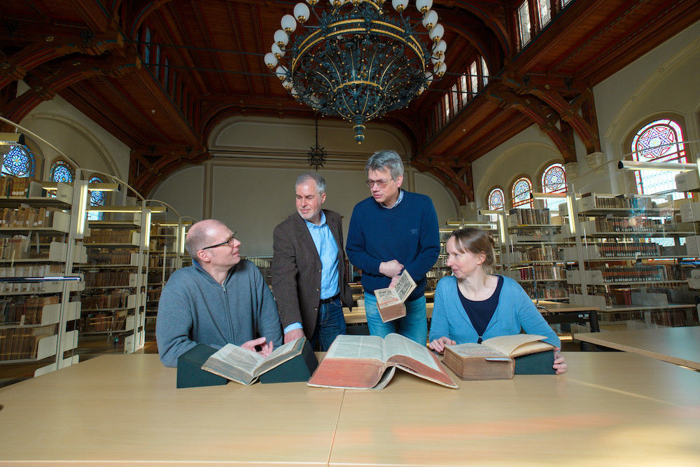 For their project, Martin Kühnel, project leader Martin Grunert, Matthias Hambrock and Andrea Thiele (left to right) use historical sources, which have been taken from different archives and libraries.