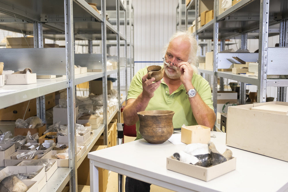Archaeologist François Bertemes in the institute's repository