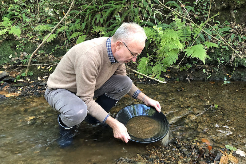 Gregor Borg panning for gold in Cornwall